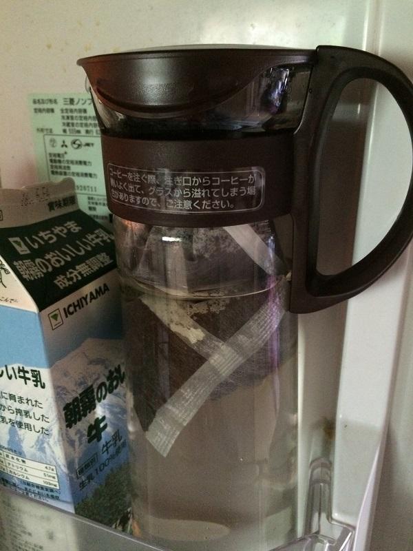 UCCの水出しアイスコーヒーを冷蔵庫へ